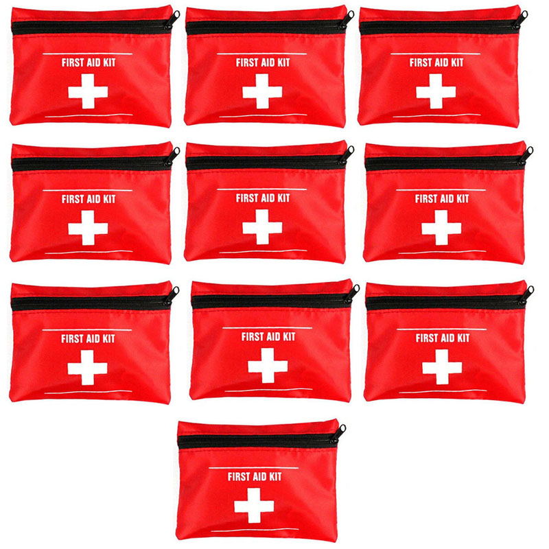 Wholesale 10pcs Outdoor Sports Camping Home Empty Mini Medical Emergency Bag Survival First Aid Kit Bag Red