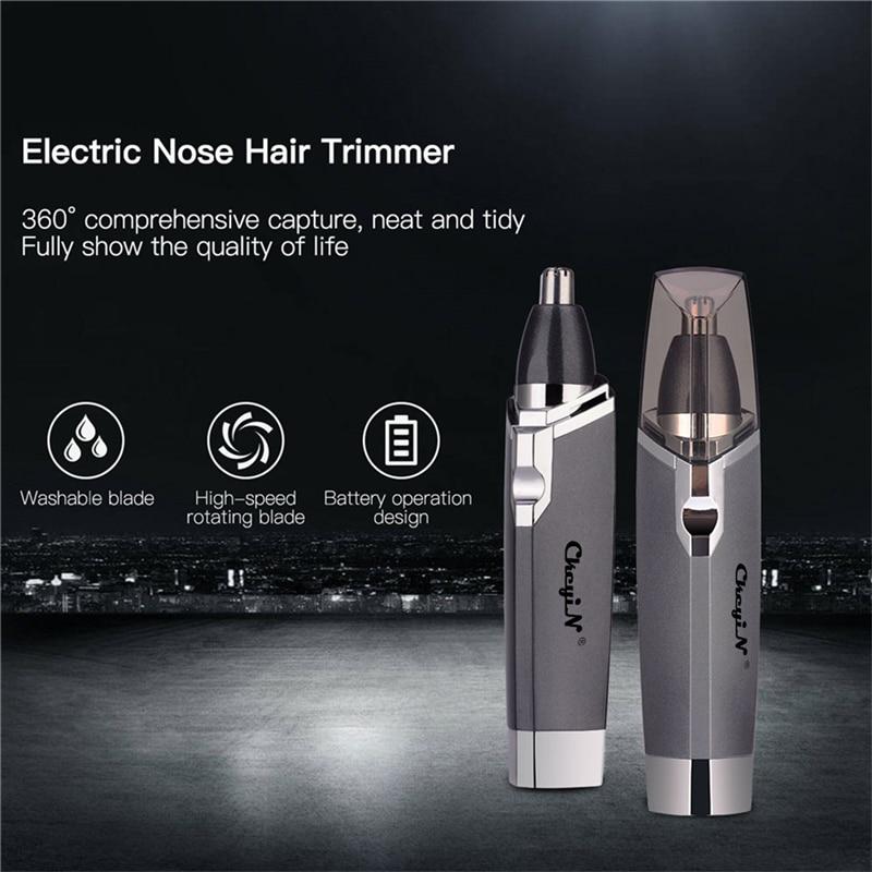 Recortadora de nariz Afeitadora eléctrica cortaúñas oído recortadora removedor de pelo hombres AA batería máquina de afeitar para nariz oreja Trimmer herramienta de corte P0
