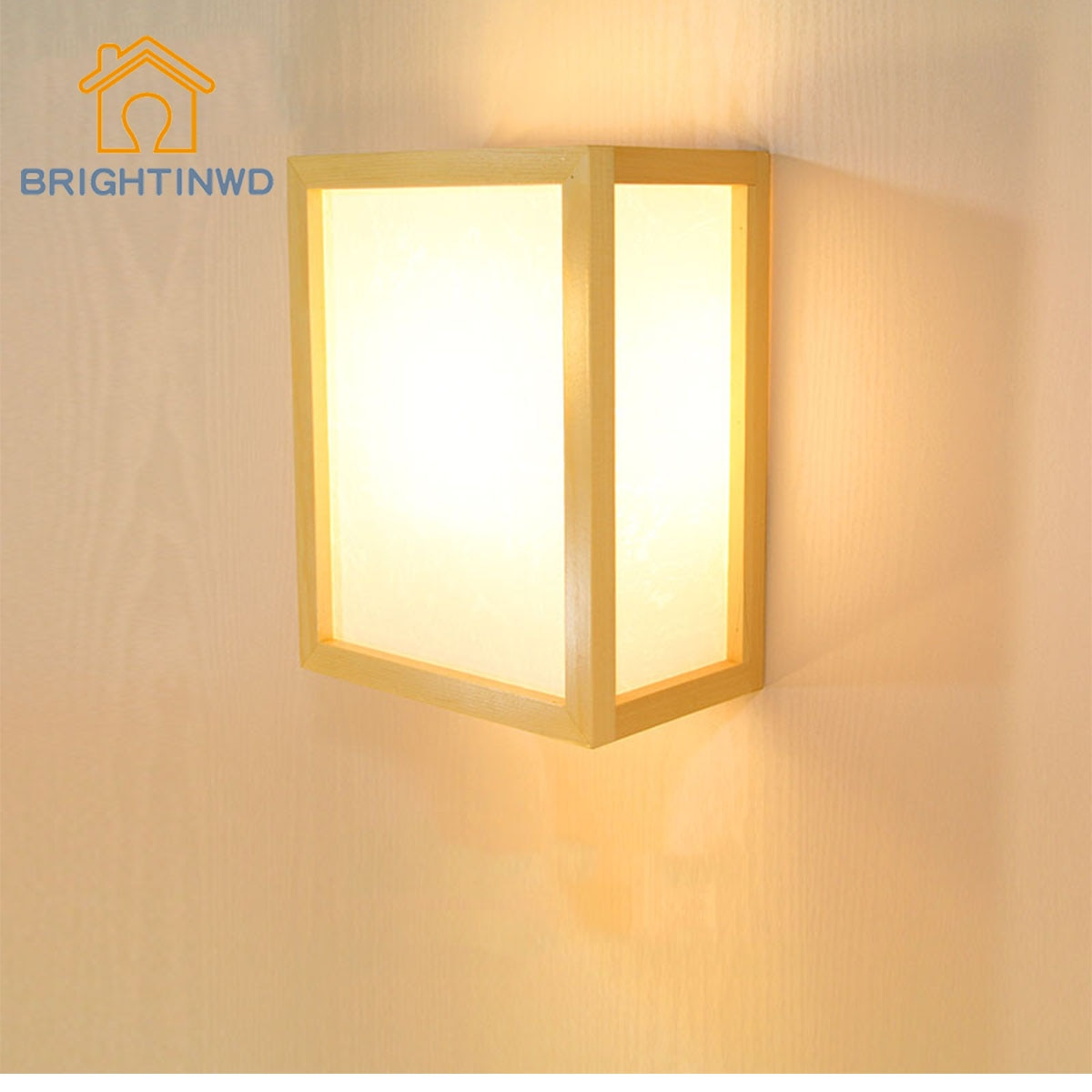 Modern minimalist creative Japanese wood color solid led wall lamp Hotel room tatami wooden
