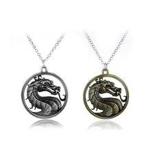 Jeu en ligne Mortal Kombat collier Vintage jeux de combat Dragon pendentif pour hommes Jane Empire bijoux Collares