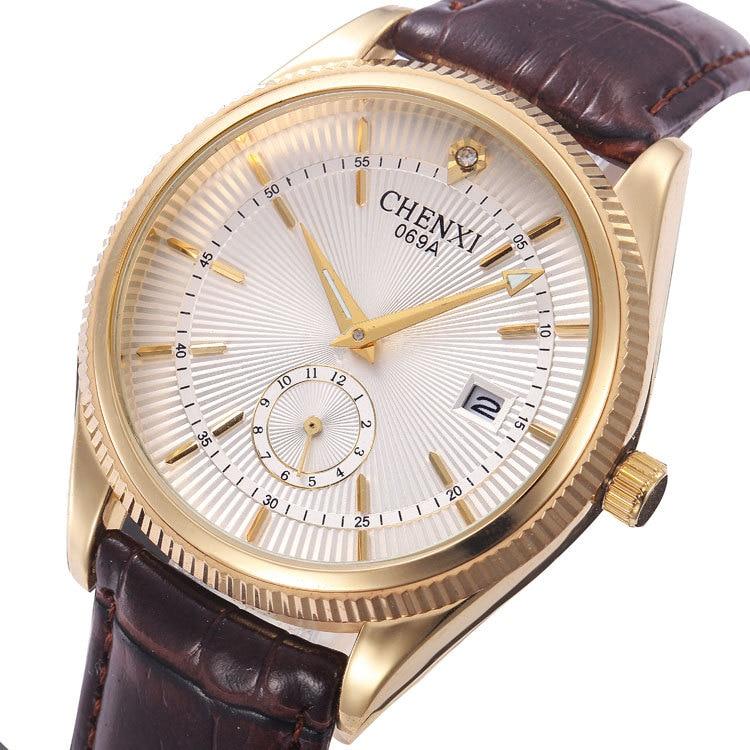 Relojes de negocios de cuero de calidad, relojes de cuarzo analógicos con calendario y fecha para hombre, reloj de pulsera informal a la moda para hombre, reloj