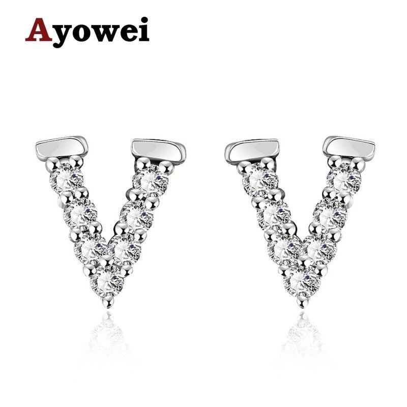 Ayowei, regalo de letras de fiesta, Zirconia cúbica, pendientes de tuerca de Color rosa dorado para joyería de niña JES1140A