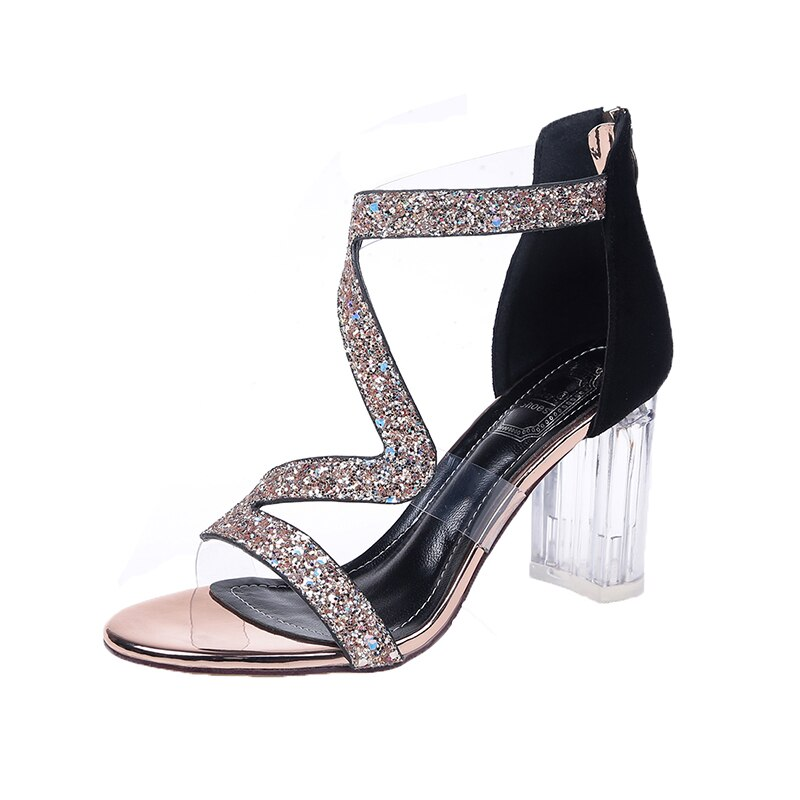 Sandalias de gelatina de PVC de cristal 2019 zapatos de mujer Zapatos de tacón alto con cremallera transparente sandalias de Mujer Zapatos de playa de mujer