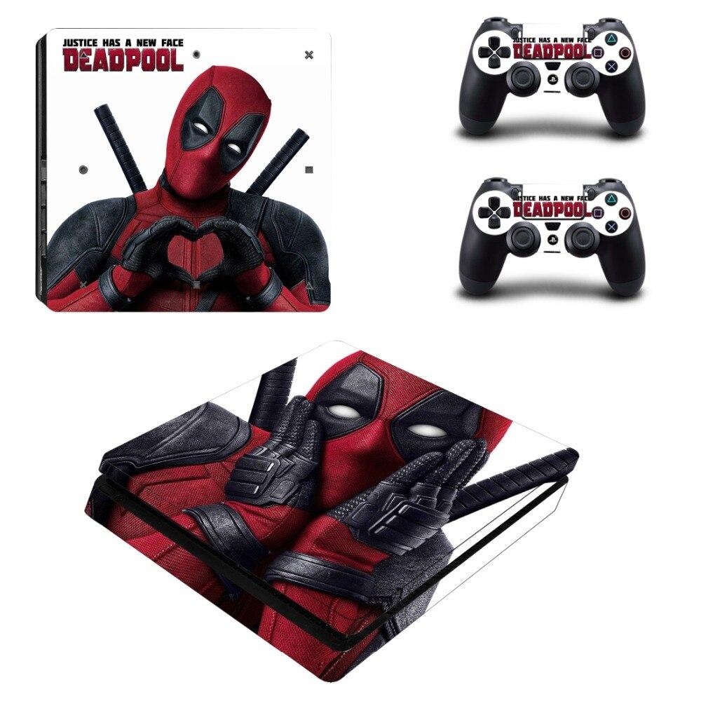 Película pegatina de PS4 Slim Deadpool para consola Sony PlayStation 4 y pegatina para control de pegatina de PS4 Slim de vinilo