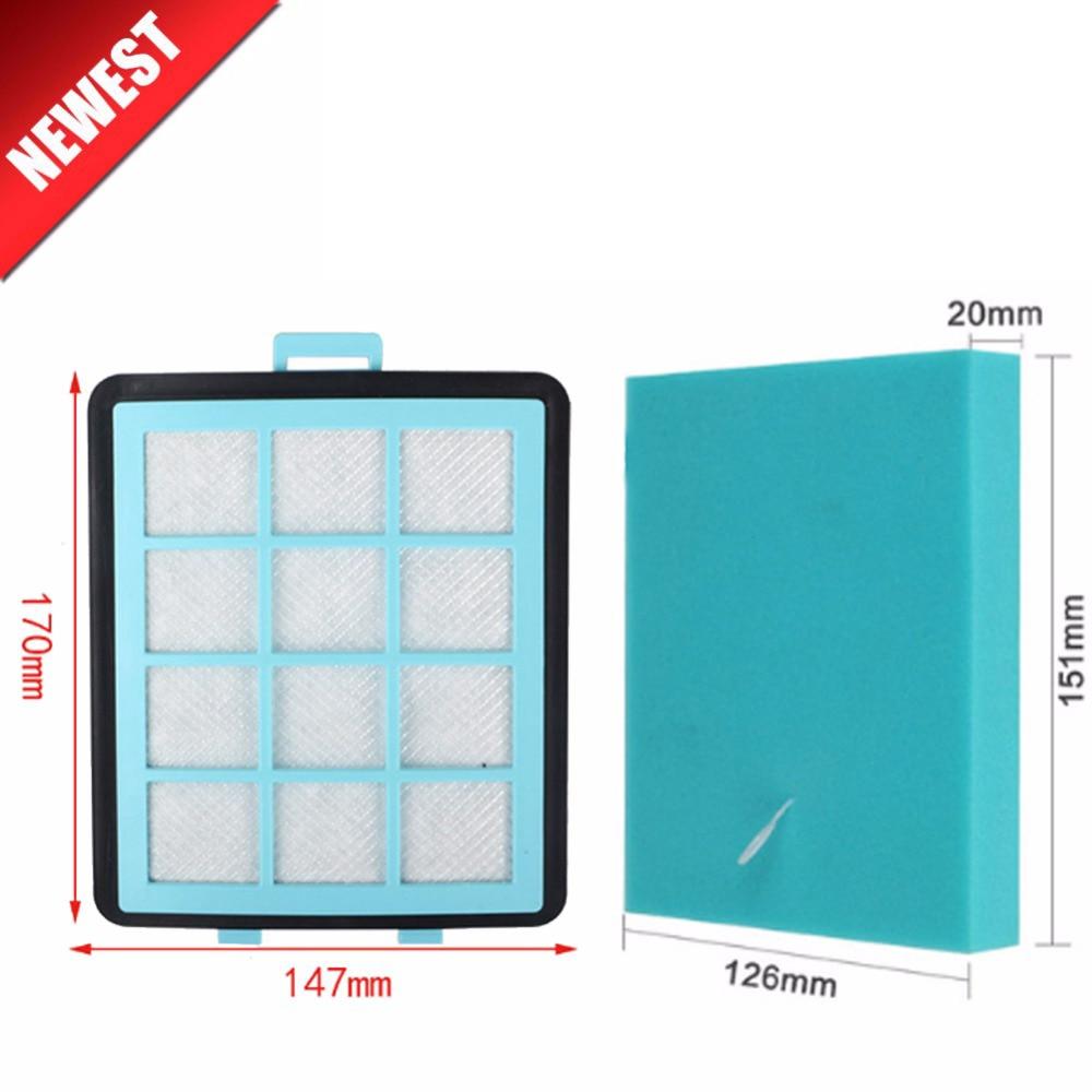2 unids/lote 1 filtro + 1 algodón para Philips FC8760 FC8761 FC8764 FC8766 FC8767 FC97 ** piezas de filtros HEPA para aspiradora