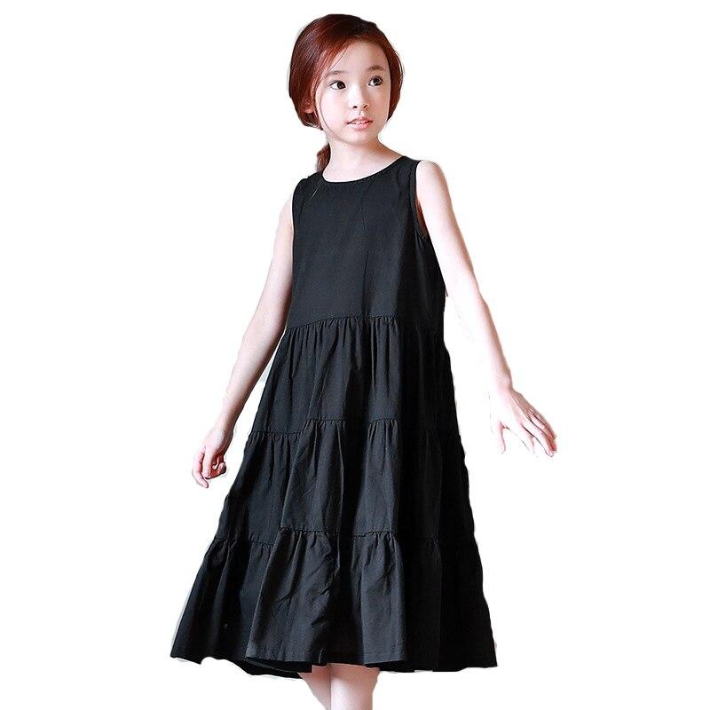 Vestido grande para niñas, ropa informal para niños, verano 2019, algodón, Maxi Vestido de playa para niños adolescentes, vestido sin mangas plisado negro, vestido de 4-14 años
