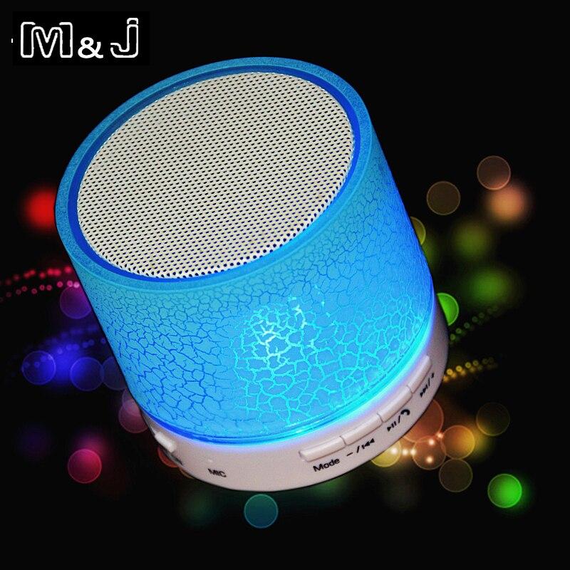 M & J A9 портативные мини светодиодные bluetooth-колонки, беспроводные маленькие музыкальные аудио TF USB FM световые стерео звуковые колонки для телефона с микрофоном