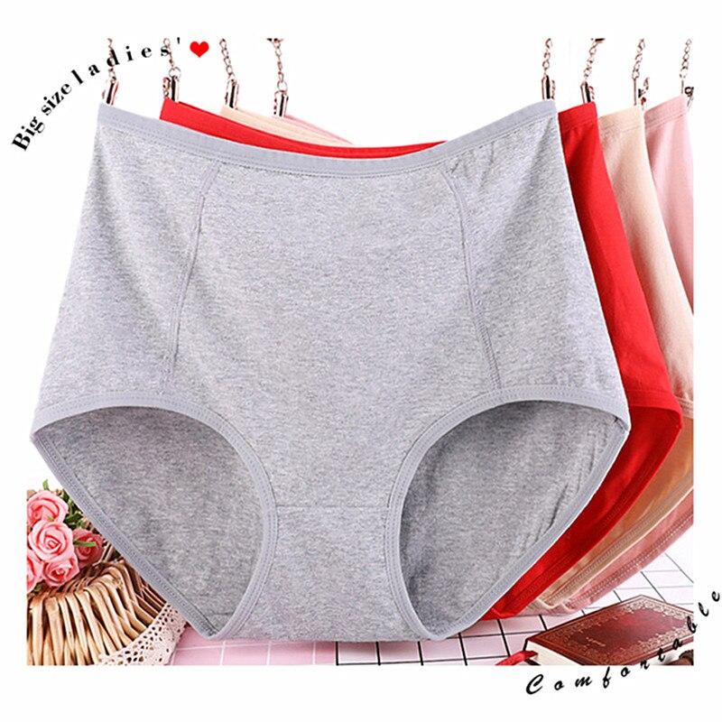 Culotte en coton taille haute, sexy, pour femme, 3 pièces/lot, sous-vêtements solides, lingerie intime, XL-6XL