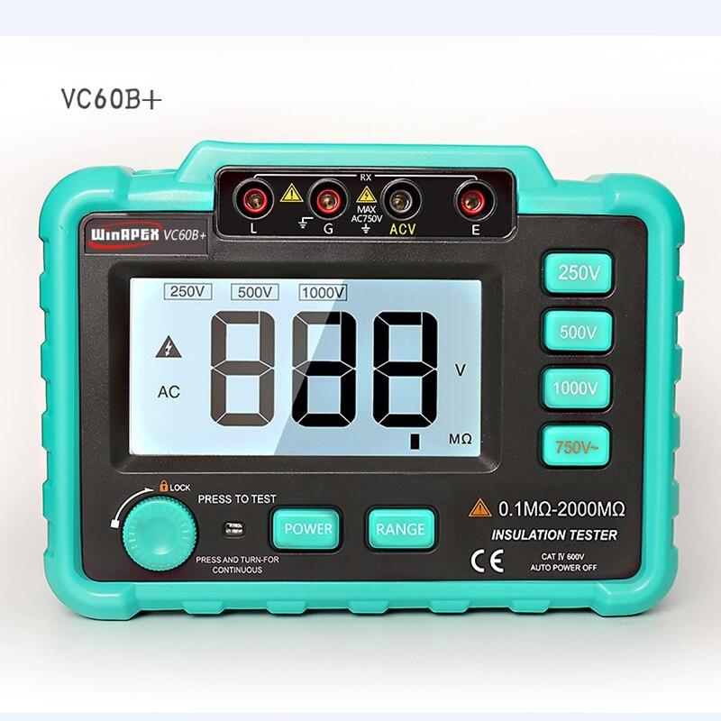 Medidor de resistencia Aislamiento digital VC60B + Megohm Megohmmeter probador de impedancia de resistencia a tierra DC250V/1000 V