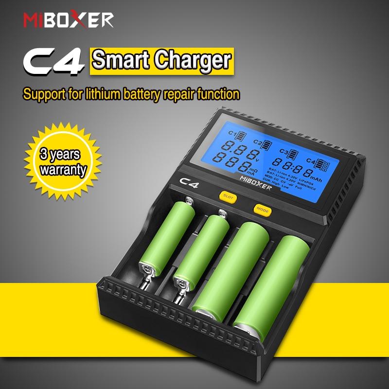 100% oriMiboxer C4 VC4 LCD Batterie Ladegerät für Li-Ion/IMR/INR/ICR/LiFePO4 18650 14500 26650 AAA 4,2 3,7 1,2 V 1,5 V Batterien
