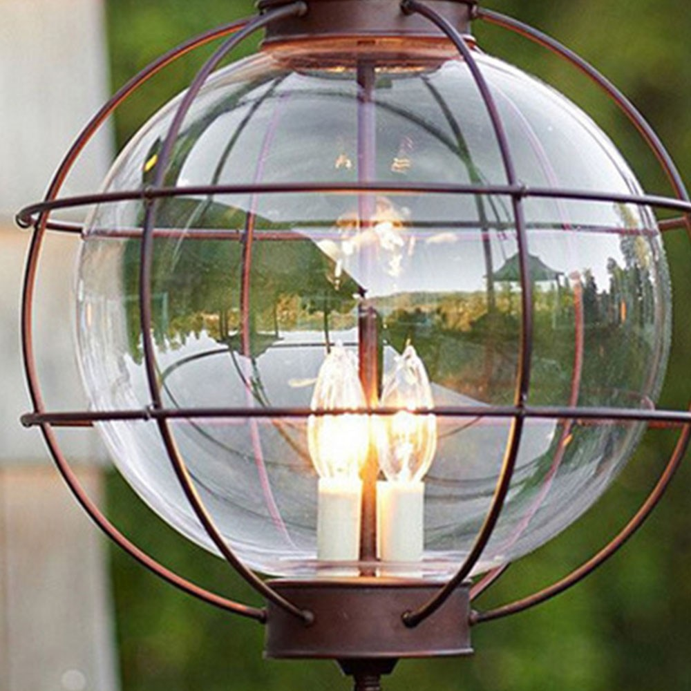 Iron Industrial Loft outdoor Pendant Lamp Globe Multipurpose Hanging Lights For garden Aisle with glass lampshade enlarge