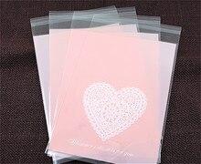 Sacs demballage en plastique pour cookies   Cœurs roses, 13x19cm, 100 unités/lot, emballages pour cupcakes, livraison gratuite