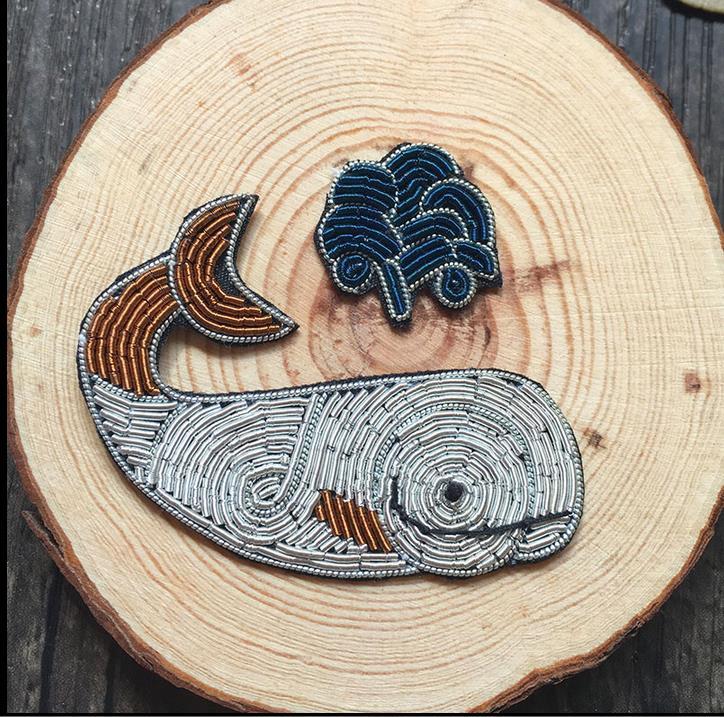 Broche de seda con diseño de ballena, bordado hecho a mano de alambre de seda de la India, parche de tela bordado, suministros para manualidades diy