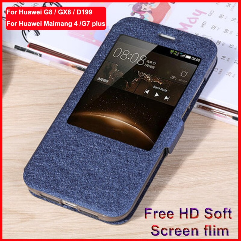 Para Huawei caso G8 G7 Plus GX8 tampa traseira janela Aberta Estojo De Couro PU G7plus G8 RIO L01 L02 L03 d199 GX8 Tampa Do Telefone caso shell