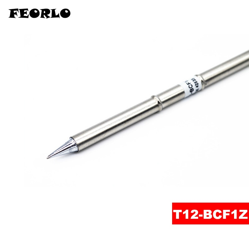 FEORLO 1 piezas de soldadura T12 para HAKKO T12-BCF1Z BCF3Z BCF4Z C4 C1 D4 D08 consejos hierro de la soldadura pica