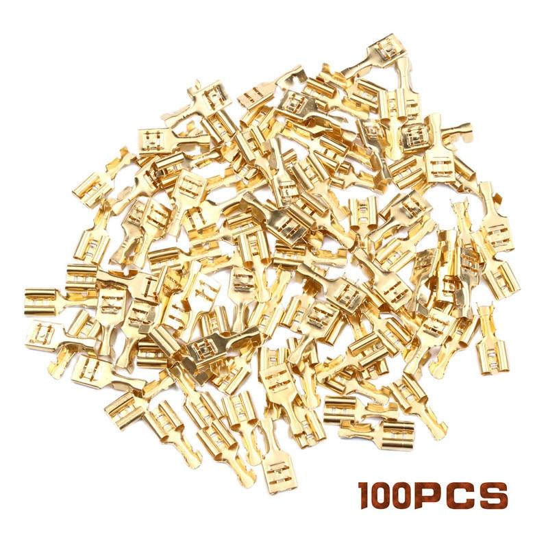 100Pcs 2.8mm/4.8mm/6.3mm Female Crimp Terminal Connector Gold Brass Car Speaker Electric Wire Connectors Crimping Terminals