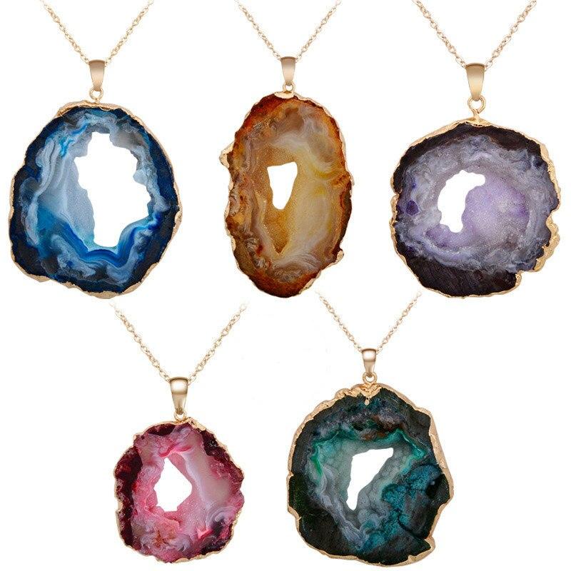 Nouveau brésilien Drusy naturel tranché tranche ouverte Druzy Agat électrolytique pendentif perle pour la fabrication de bijoux collier sans chaîne