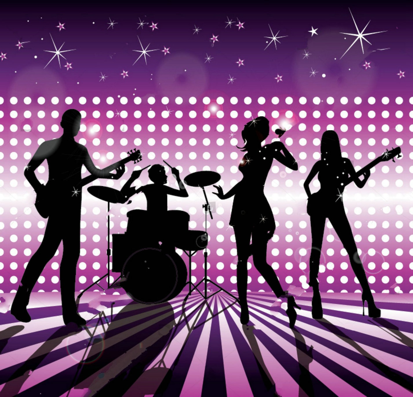 Rock Star Band DJ Stage Sparkly Polka Dot disco foto telón de fondo de alta calidad impreso por ordenador fiesta de fondo