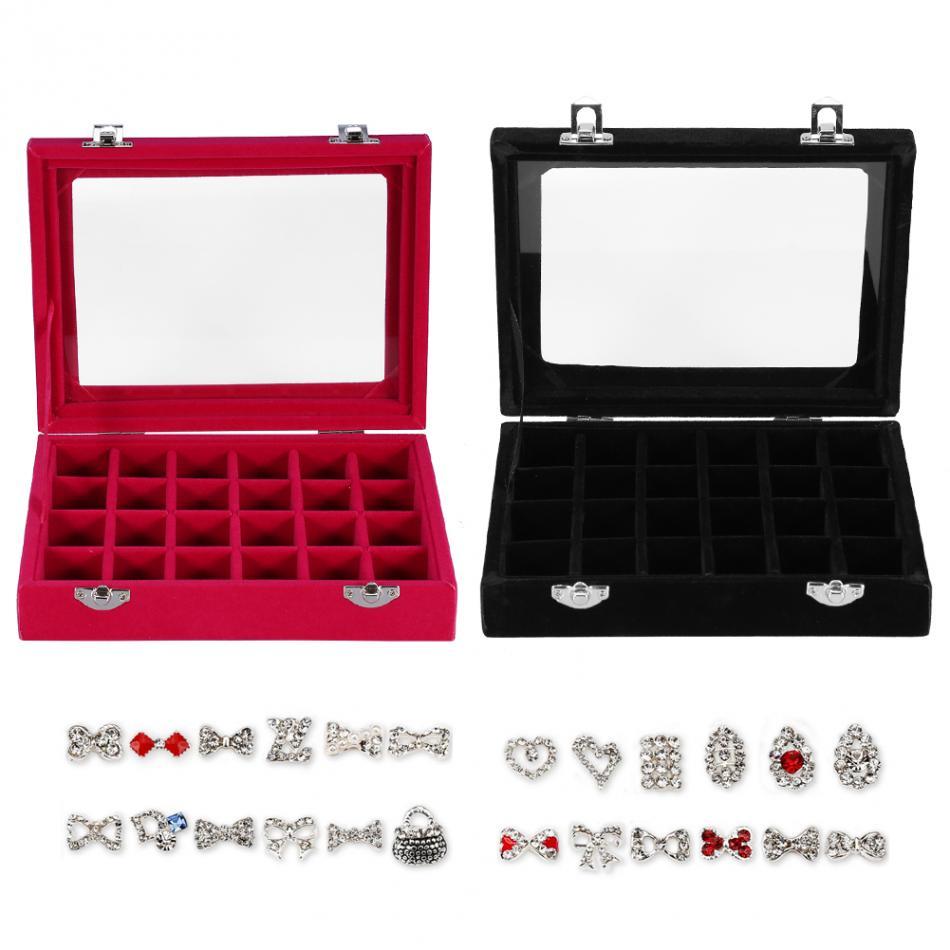 24 Grids Fine Plush Nail Art Display Storage Box Glitter Polish Sequins Rhinestone Manicure Organizer Jewelry Ring Display Box