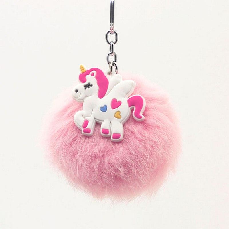 Original nueva Bola de piel esponjosa pompón llavero con unicornio mujeres Pom piel llavero con bola caballo colgante bolso baratija regalo de boda