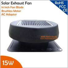 Ventilador de ventilación Solar de 14 pulgadas sin escobillas con Panel Solar incorporado de 15W y adaptador de CA