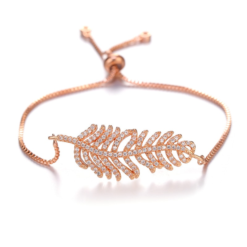 JUWANG Fashion DIY Bangles Jewelry Rhinestones Pave Setting Leaf Style Charm Copper Chain Bracelets For Woman Girl Birthday Gift