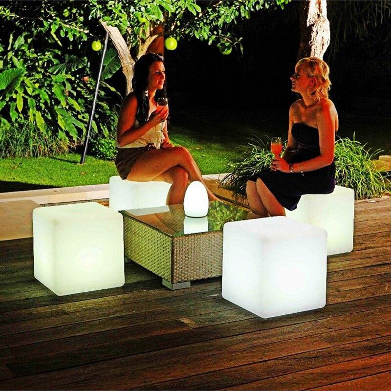 Taburete de cubo con RGB de 40x40x40CM, luces LED recargables con Control remoto, coloridas lámparas LED de asiento cúbico para casa, Bar, jardín, boda y fiesta