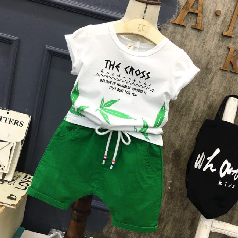 Baby Boy Summer Clothing Set 2019 Boys Clothes Kids Short Sleeves Print Shirt+Flower Shorts 2pcs Suit Children Clothing