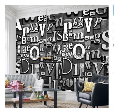 Free shipping customized letters 3d stereoscopic wallpaper modern retro sofa ktv European TV backdrop wallpaper mural