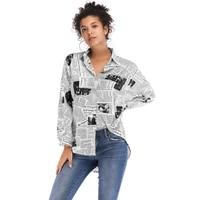 2019 fashion designer womens chiffon shirt casual letter print newspaper blouses ladies wild long sleeved beach shirts female