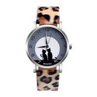 2020 Women Cute Cat Creative Design Leopard Faux Leather Analog Quartz Watch Ladies Dress Relogio Feminino Gifts Drop Shipping Q