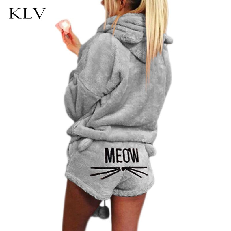 Pijamas gruesas de Invierno para mujer niñas conjunto lindo gato Meow corto bordado pantalones de manga larga con capucha orejas sudadera caliente ropa de dormir