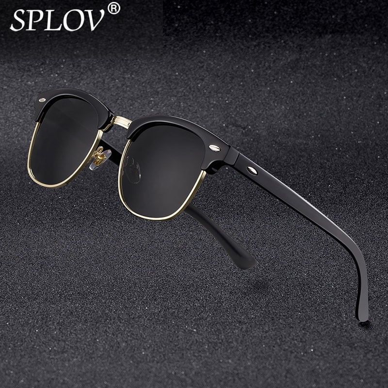New Fashion Semi Rimless Polarized Sunglasses Men Women Brand Designer Half Frame Sun Glasses Classi