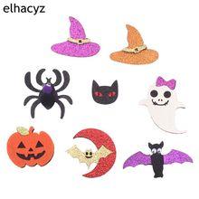 8 unids/set nuevo brillo de Halloween del cráneo murciélago fantasma calabaza almohadillas de fieltro para niños niña hecho a mano DIY accesorios para el cabello