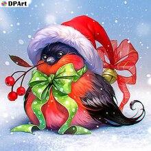 Pintura de diamante cuadrado completo/redondo taladro negro Sparrow en vestido de Navidad 5D Daimond pintura bordado mosaico Rhinestone L118