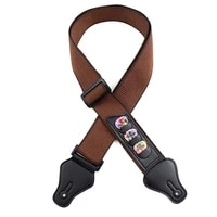 electric acoustic bass guitar strap adjustable cotton straps leather ends with 3 guitar pick holders guitar accessories