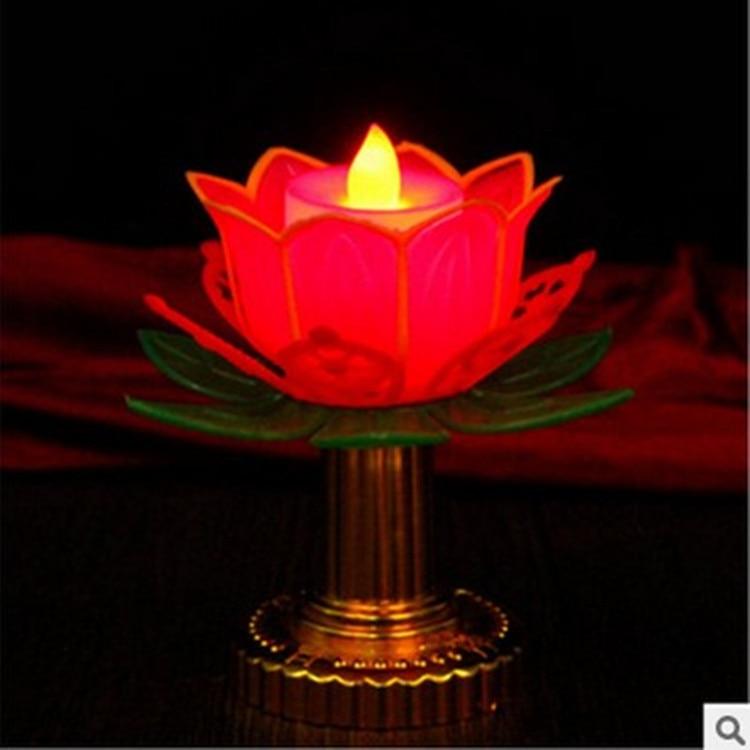 Lotus electrónicos vela loto budista hojas De oro 11 Cm De alto...