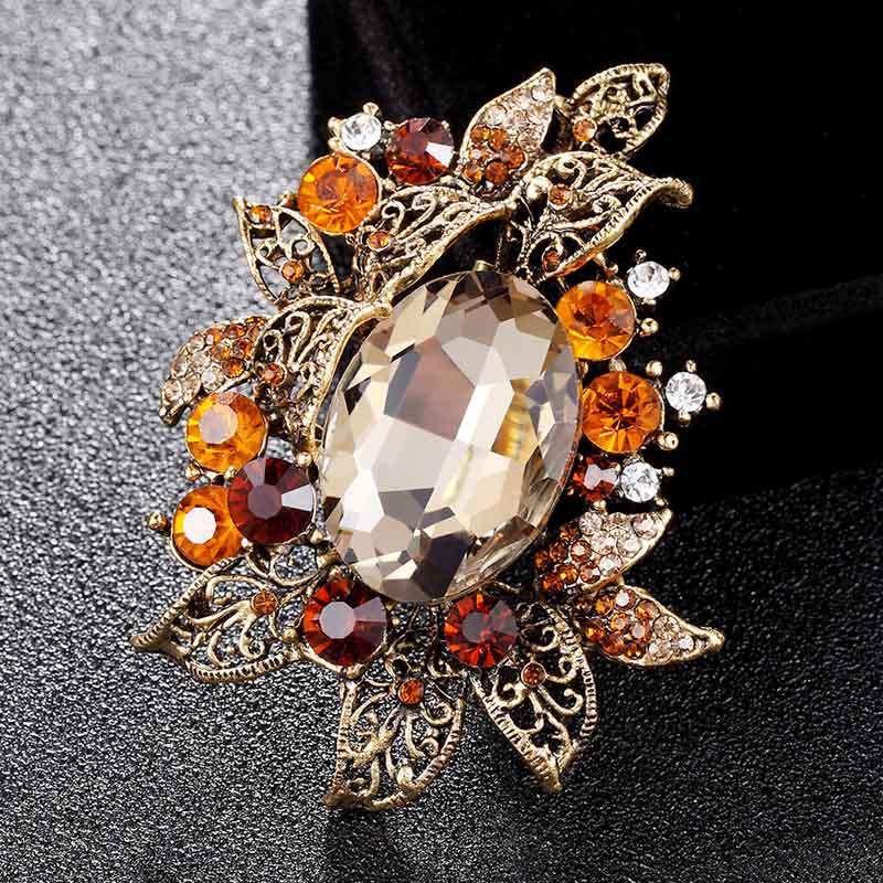 Broches de cristal austriaco de Color melocotón de marca, joyería para boda, hiyab de novia Vintage de oro antiguo para mujer, broches de moda