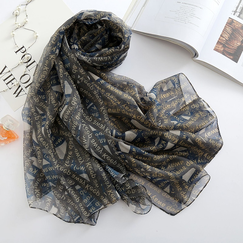 Большой размер 180*140 см, роскошный цифровой черный шарф с буквенным принтом, женский шарф-слайк на лето, женские пончо, шарфы, бандана, W1106