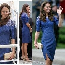 Elegant Half Sleeves Lace Satin Formal Evening Social Gowns Little Split Elegant Dress
