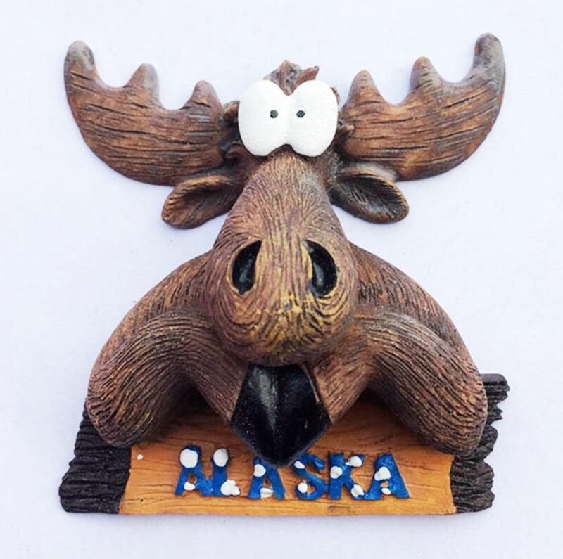 Nuevo hecho a mano pintado lindo alce de Alaska cabeza 3D nevera Imanes US turismo recuerdos refrigerador pegatinas magnéticas