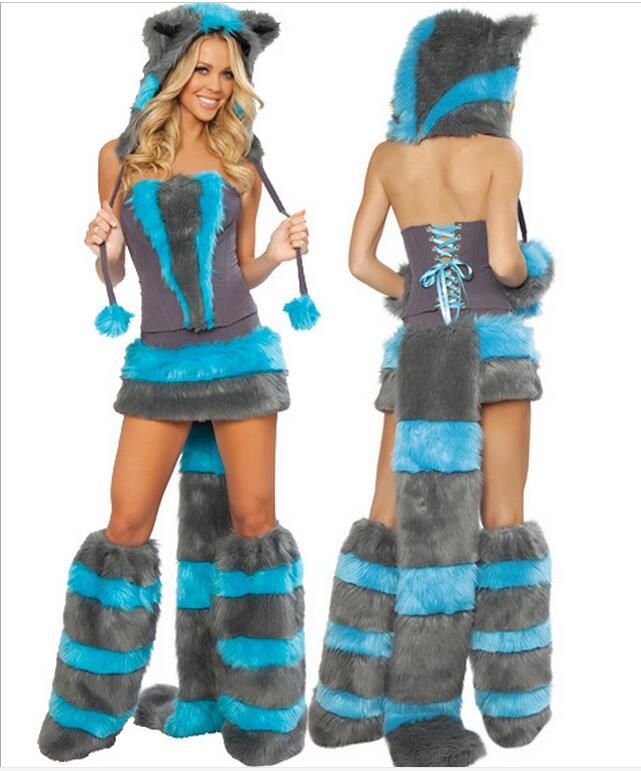 Mulheres De Peles na moda Strapless Azul E Cinza dinossauro Trajes Cosplay Lobo Animal Traje Sexy Cheshire Cat Costume
