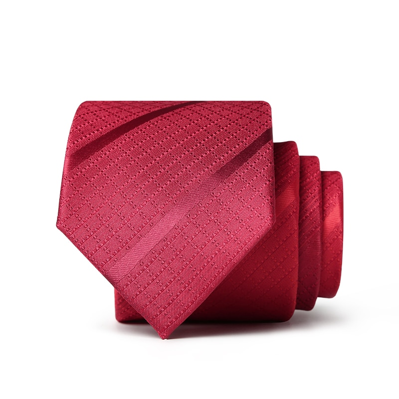 2018 new arrivals classic men business formal wedding tie 7cm red plaid neck tie fashion shirt dress accessories with gift box