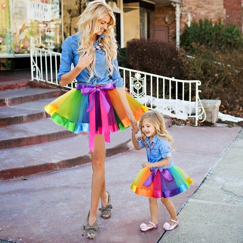 Falda de Ballet tutú para niños adultos arcoíris para chicas e hijas