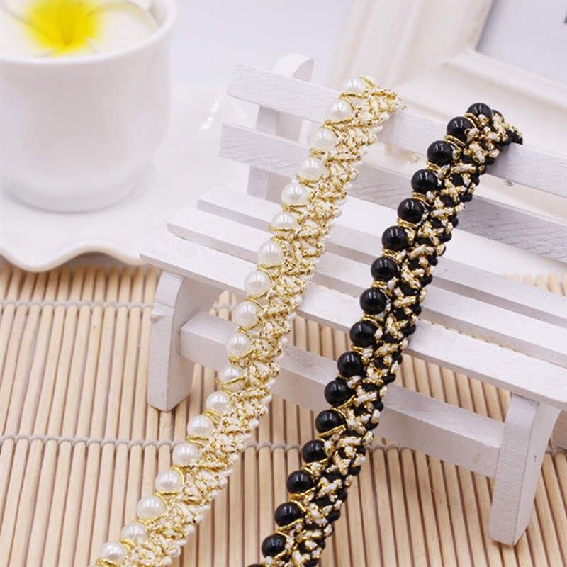 DoreenBeads, Color dorado, imitación de cinta con perlas, encaje con cuentas, encaje, vestido de boda, bolso, sombrero, calcetines, aplique, Color Beige, negro, aproximadamente 0,9 m, 1 unidad