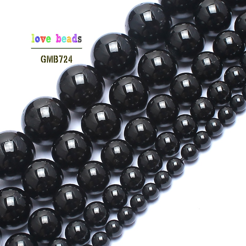 Natural Stone Beads Black Tourmaline Stone Round Beads For Jewelry Making 15inches 4/6/8/10/12mm Gem Stone Beads Diy Bracelet
