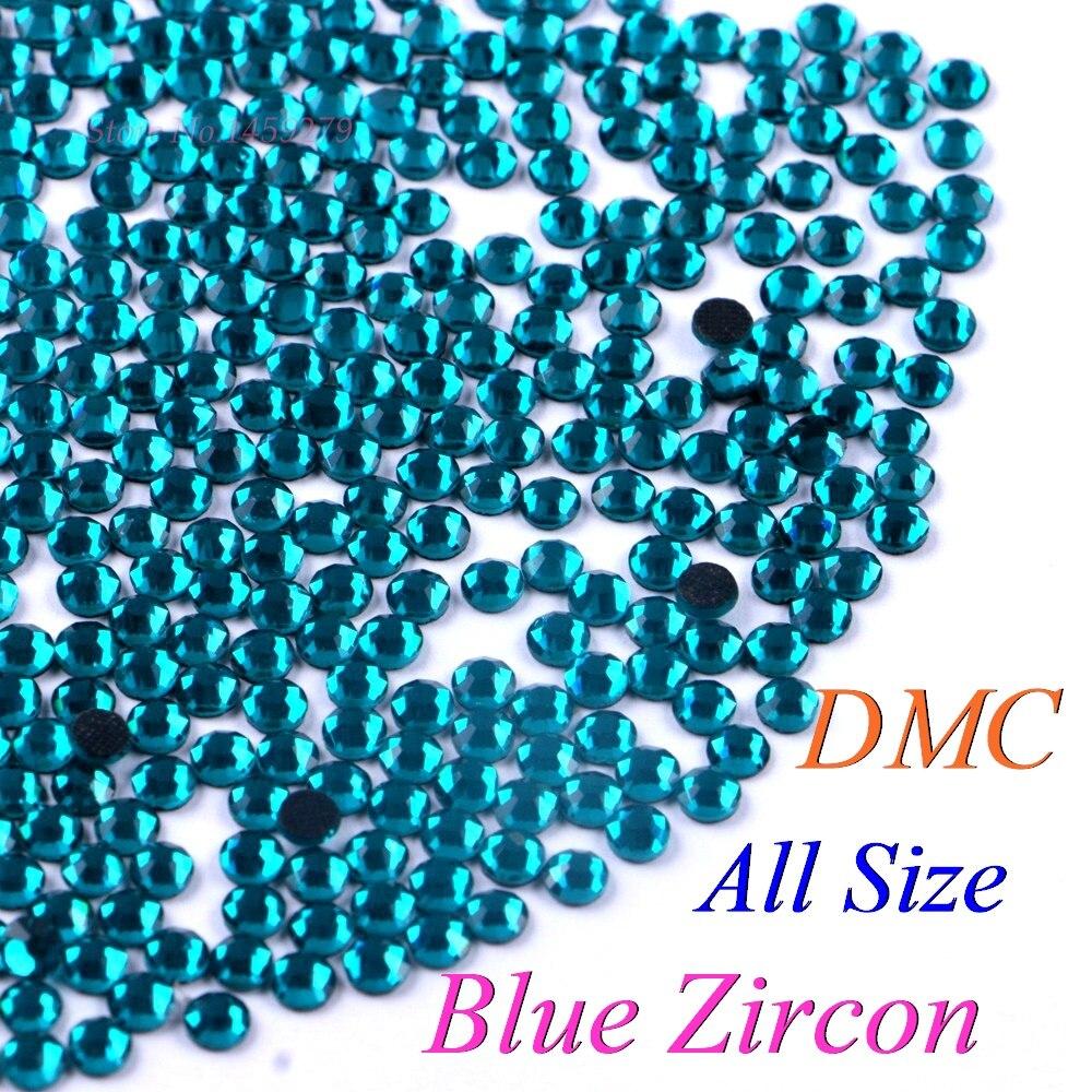 DMC Zircon azul SS6 SS10 SS16 SS20 cristales de cristal Hotfix diamantes de imitación de hierro brillante DIY con pegamento