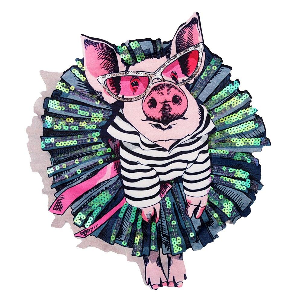 Lichi vida DIY dibujos animados cerdo bordado parches hierro costura de parches apliques para ropa bolsa chaqueta Decoración