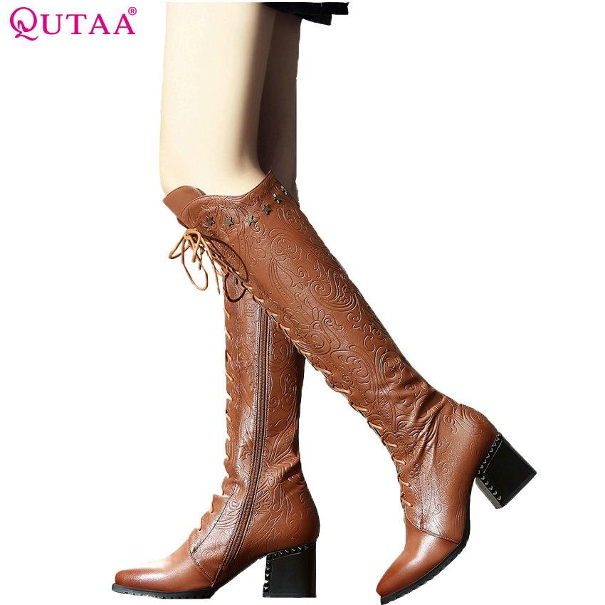 Qutaa 2020 mulheres sobre o joelho botas altas de couro de vaca moda rendas até apontou toe todo o jogo botas de motocicleta feminino tamanho 34-39