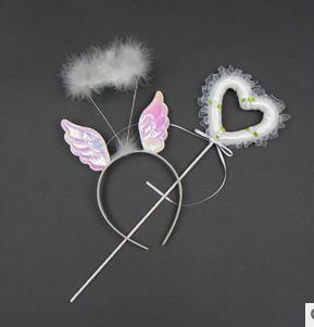 Niña Hada diadema de alas varitas set banda de pelo de plumas cinta de encaje varita mágica niño princesa actuación de fiesta accesorios regalo para evento
